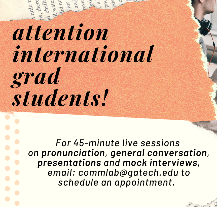 CommLab Services Available for Int'l Students banner